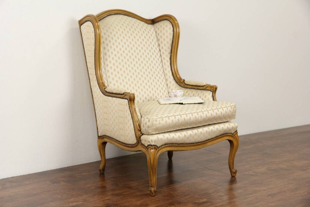 baker signed vintage fruitwood wing chair harp gallery antique