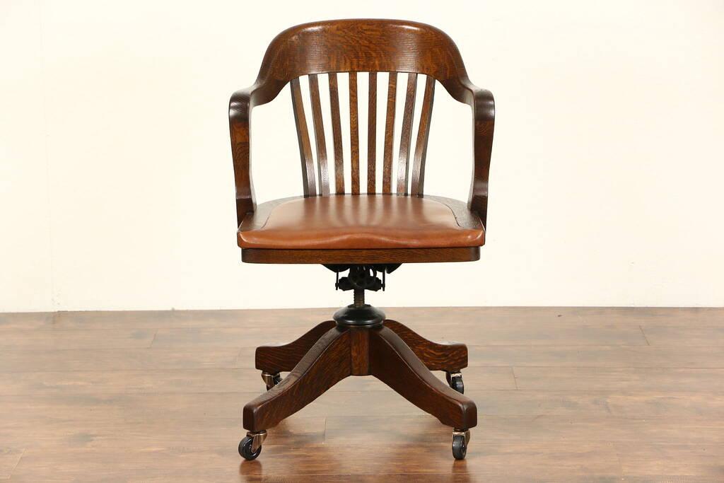 Sold Oak Swivel Adjustable Pat 1916 Antique Desk Chair
