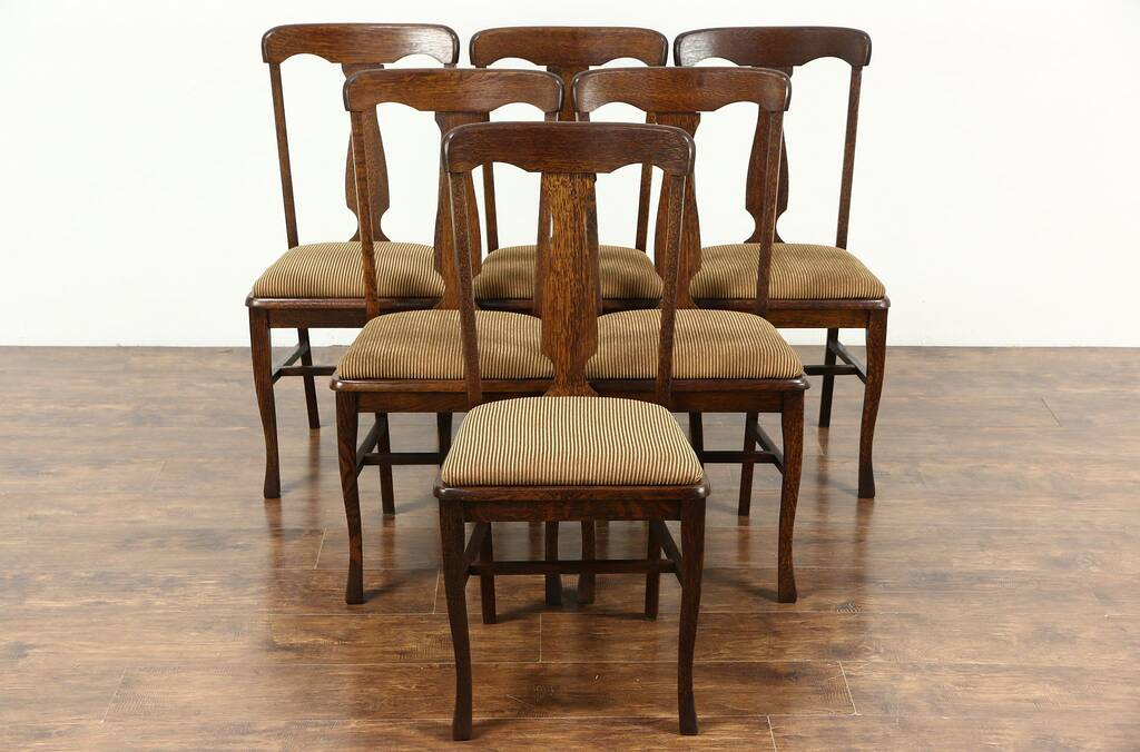 Sold Set Of 6 Antique 1900 Quarter Sawn Oak Dining Chairs New Upholstery Harp Gallery