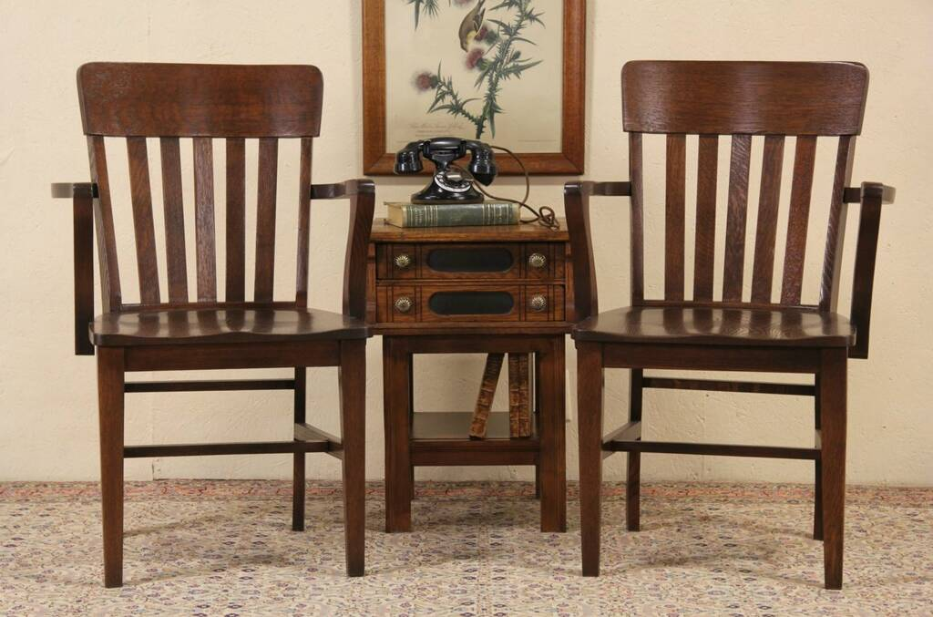 Pair of oak antique office or library chairs ebay