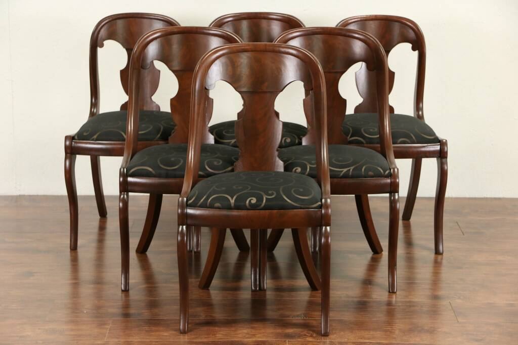 Sold Empire 1835 Antique Mahogany Dining Chairs Set Of 4 2 New Upholstery Harp Gallery