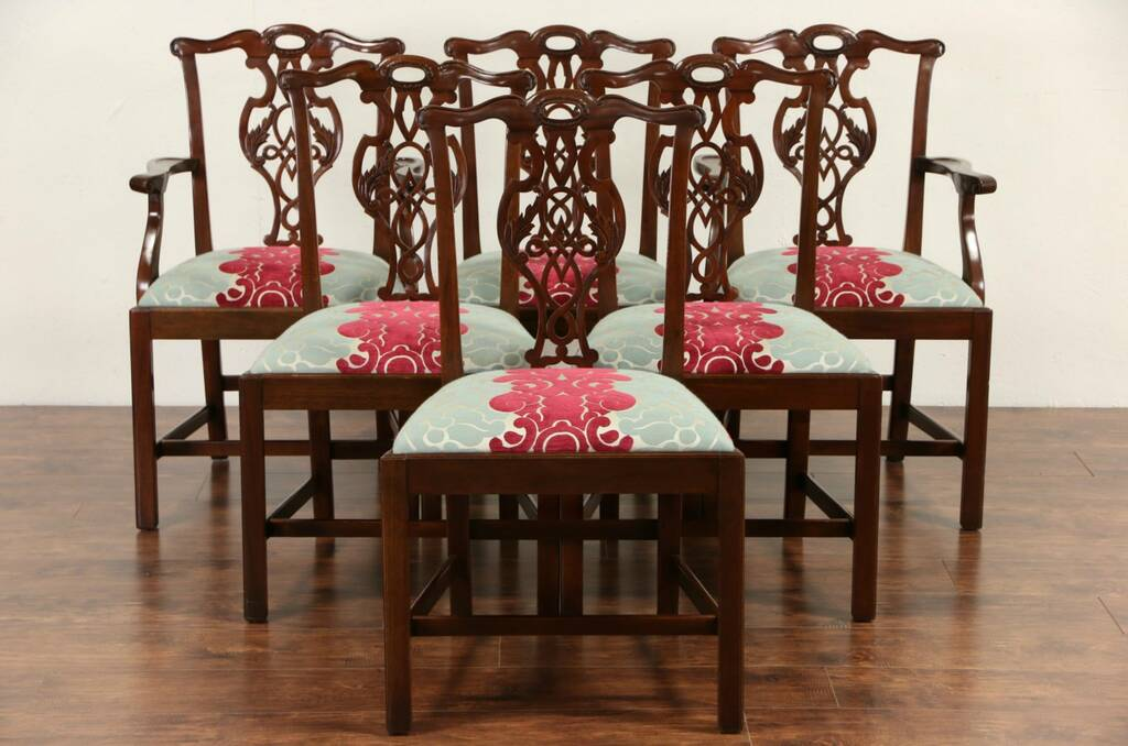 Sold Set Of 6 Signed Baker Charleston Vintage Carved Mahogany Dining Chairs Harp Gallery