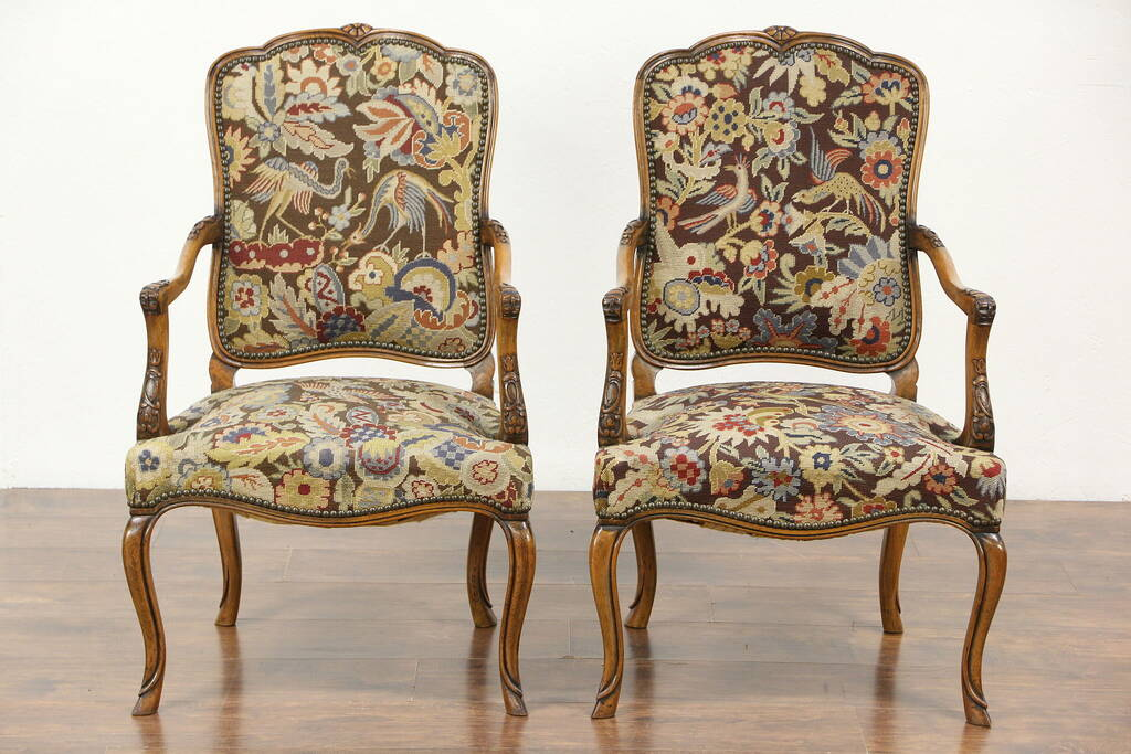 Sold Pair Of Carved Antique Scandinavian Chairs