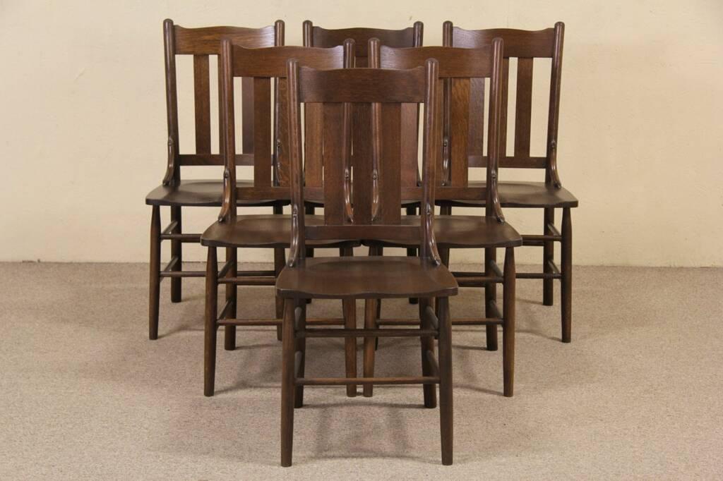 set of 6 arts crafts mission oak 1900 antique dining