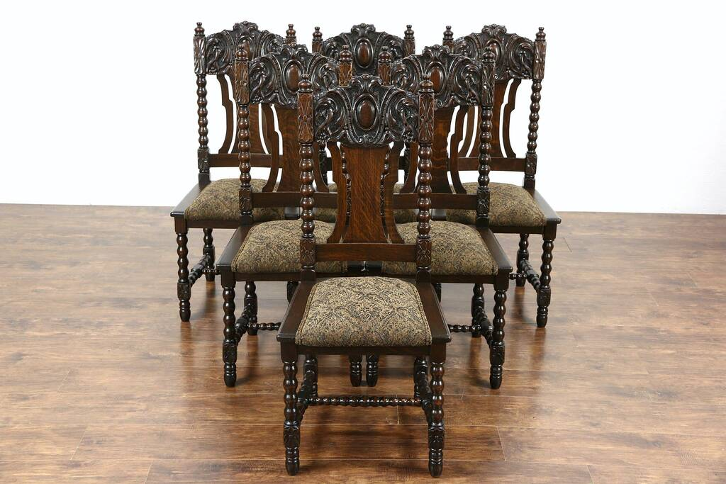 Sold Set Of 6 Oak Carved 1900 Antique Scandinavian Dining Chairs New Upholstery Harp
