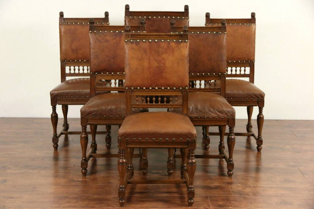 Sold Set Of 6 Italian Antique 1890 Oak Amp Worn Leather Dining Chairs Carved Lions Harp