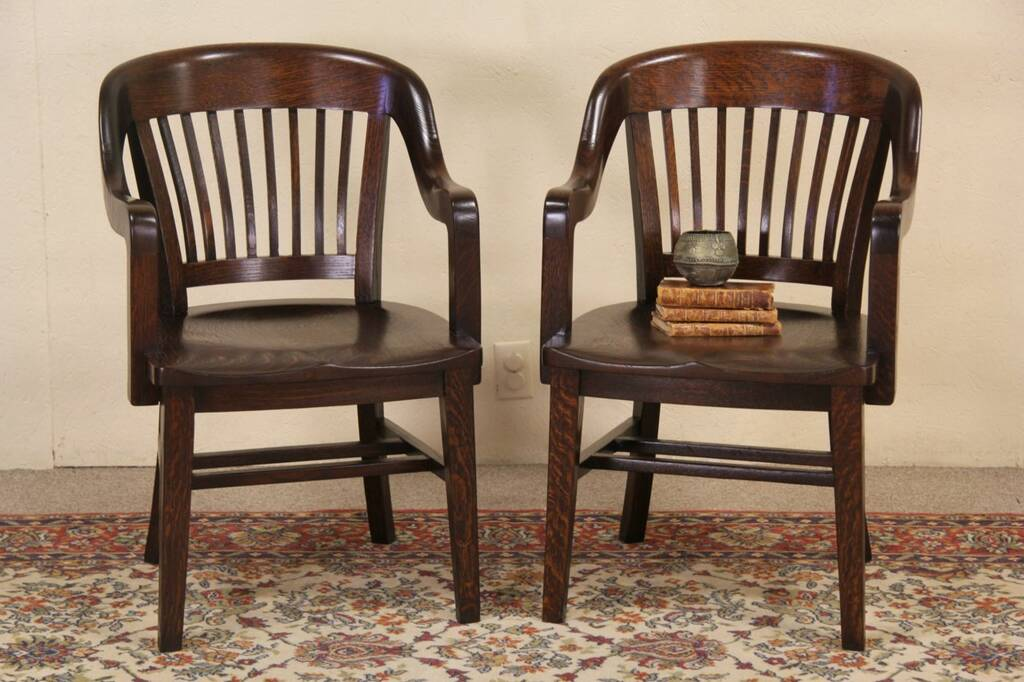 Sold Pair Of Oak Antique 1910 Banker Chairs A Harp