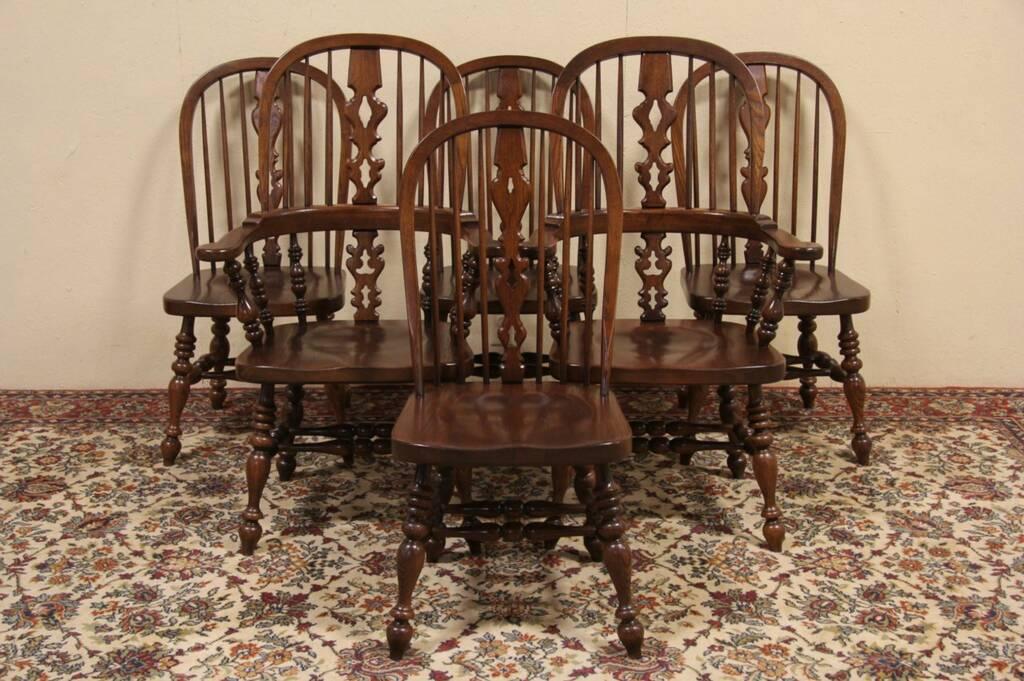 Set of 6 Ethan Allen Vintage Oak Windsor Dining Chairs