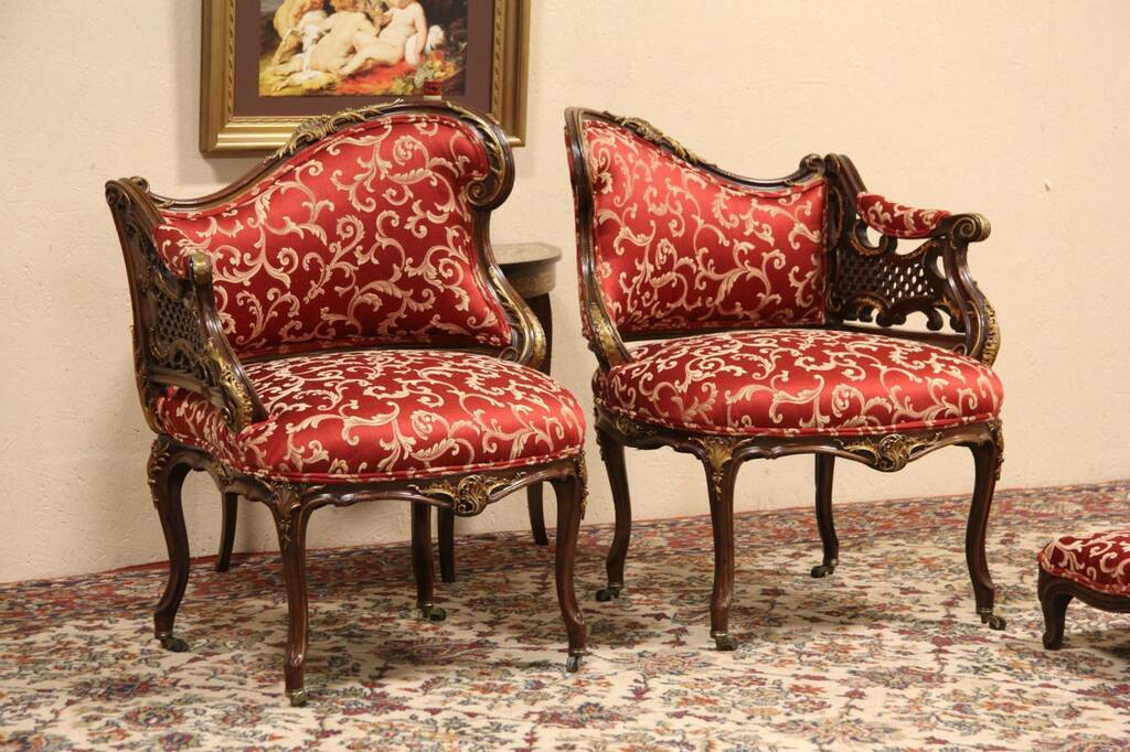 Sold pair carved 1880 antique french salon chairs for M salon federal hill