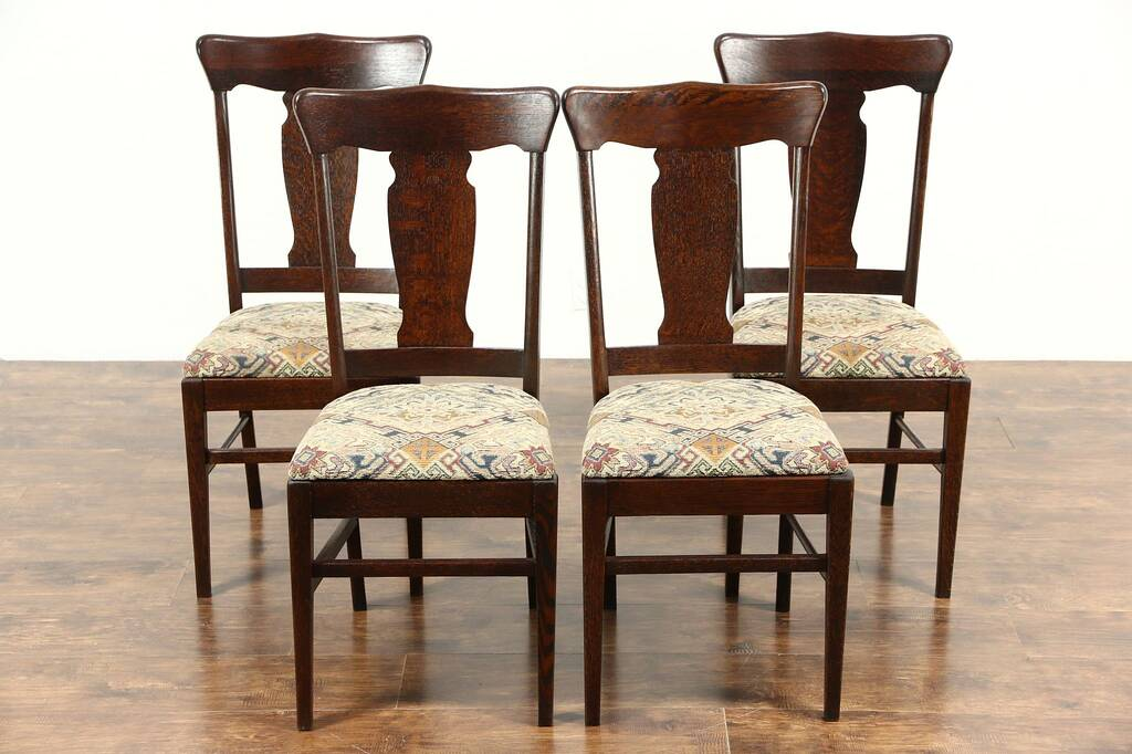 Sold Set Of 4 Quarter Sawn Oak Antique 1900 Dining Chairs New Upholstery Harp Gallery
