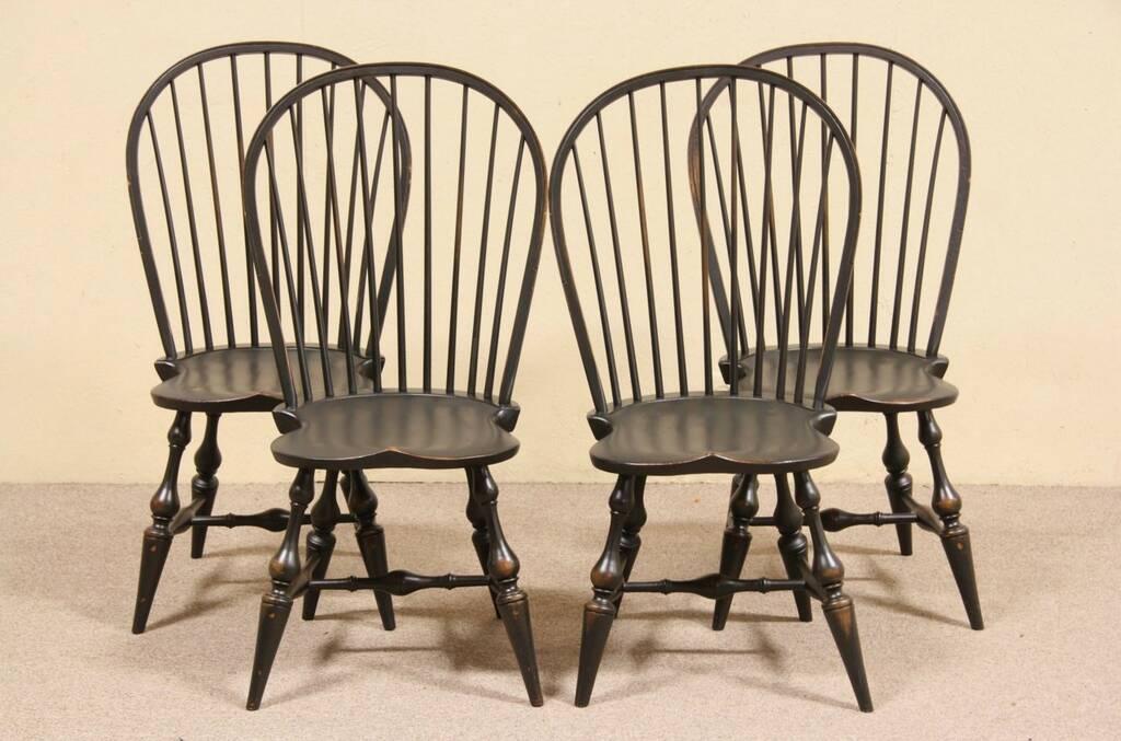 Set Of 4 Distressed Black Green Vintage Windsor Dining Or Game Chairs EBay