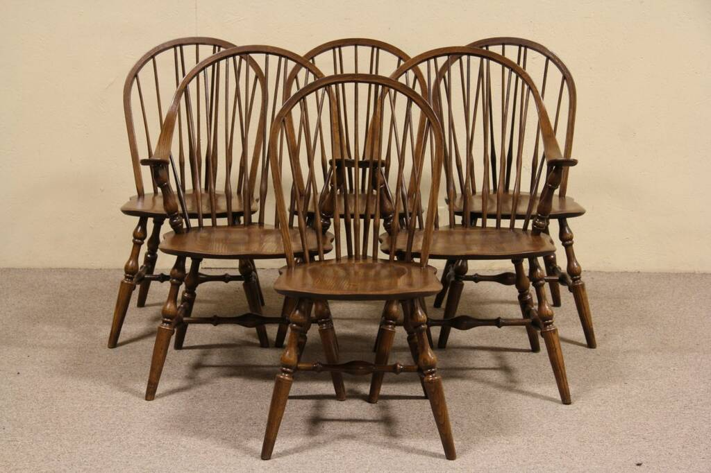 Sold Set Of 6 Hale Of Vermont Oak Windsor Dining Chairs