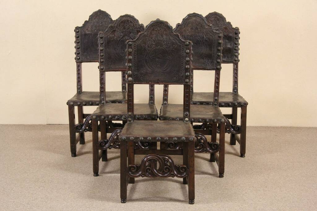 Sold Spanish 1700 S Antique Tooled Leather Set Of 5