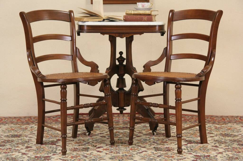 Sold Pair Victorian Maple 1880 Side Or Dining Chairs