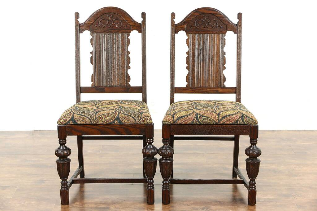 Sold Oak Pair English Tudor 1920 S Antique Dining Or