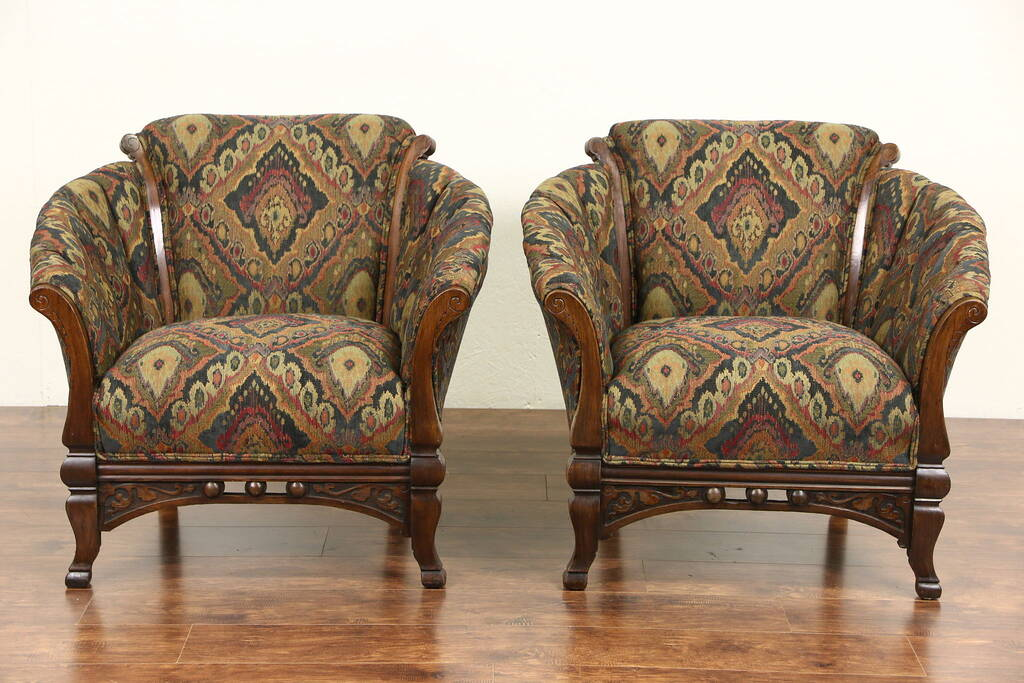 Sold Pair Of Victorian Eastlake 1890 Antique Club Chairs