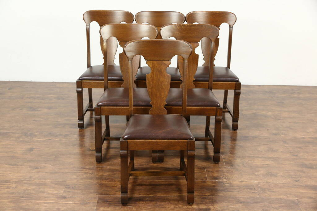 Sold Set Of 6 Quarter Sawn Oak 1900 Antique Empire Dining Chairs New Leather Signed Harp
