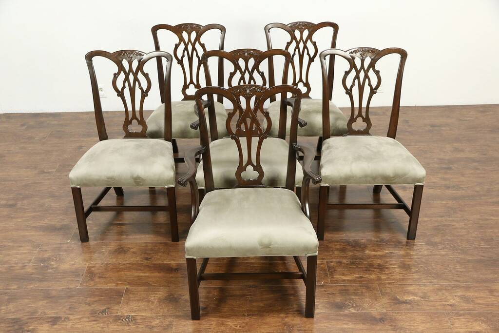 Kittinger Signed Set Of 6 Vintage Mahogany Georgian Dining Chairs New Upholstery Harp Gallery