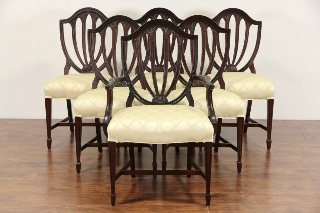 Sold Set Of 6 Vintage Hepplewhite Mahogany Shield Back