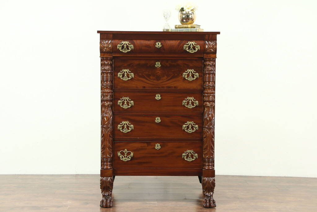 Sold Empire 1840 S Antique Mahogany Tall Chest Carved