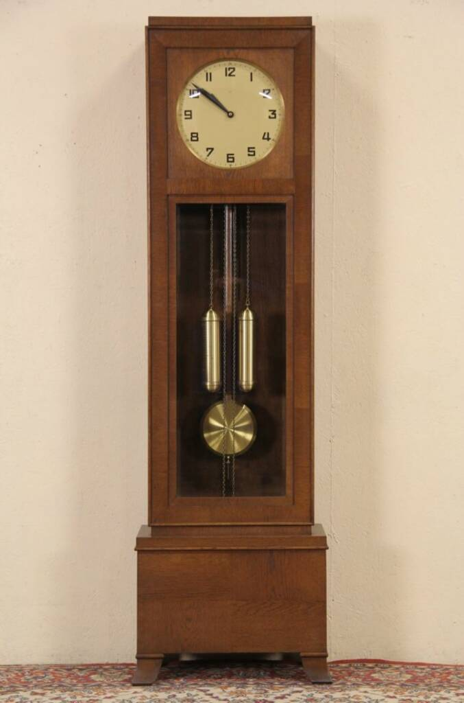SOLD - German Tall Case Oak 1920 Grandfather Clock