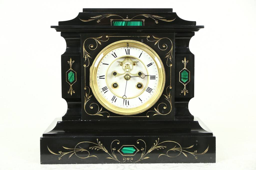 Sold Black Slate 1880 Antique Signed French Clock Open