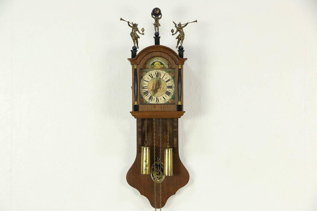 Sold Dutch Vintage Wall Clock Angels Amp Atlas Holding