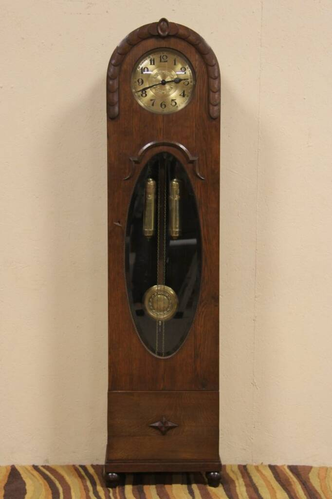 Sold Oak German 1910 Antique Tall Case Grandfather Clock Harp Gallery Antique Furniture