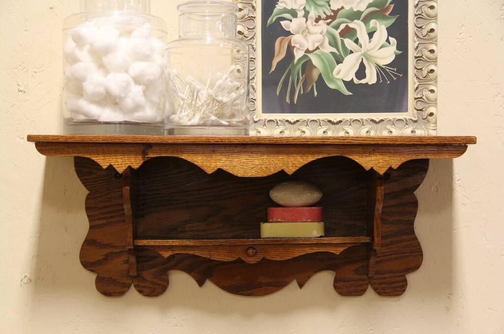 Sold Victorian Oak Antique 1890 Clock Or Wall Shelf