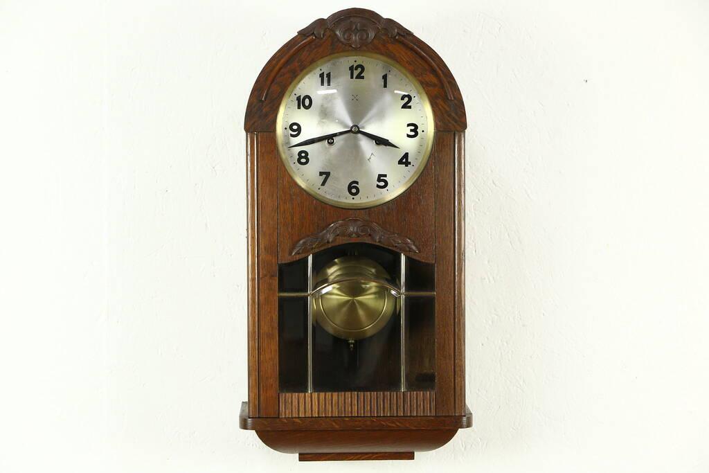 Sold Junghans Oak German 1910 Antique Wall Clock