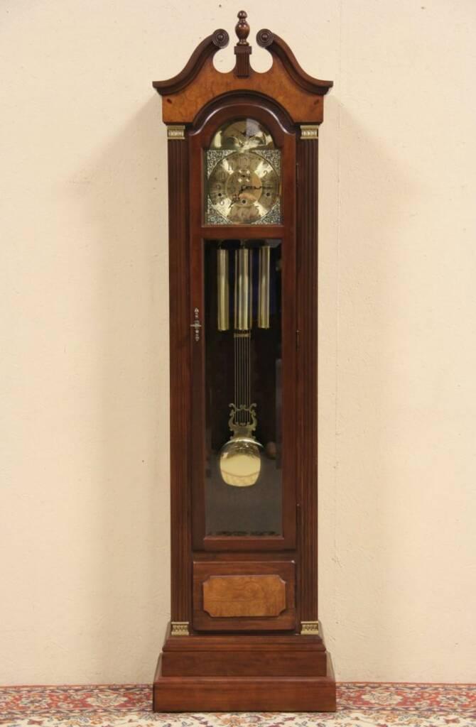 SOLD - Steinway Vintage Tall Case Grandfather Clock, Hentschel Movement - Harp Gallery Antique ...