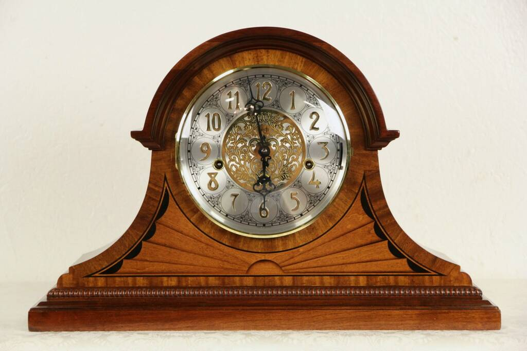 Sold Sligh Westminster Mahogany Amp Marquetry Mantel Clock