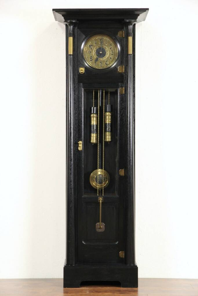 Sold German Arts Amp Crafts 1900 Antique Long Case Grandfather Clock Signed Mauthe Harp