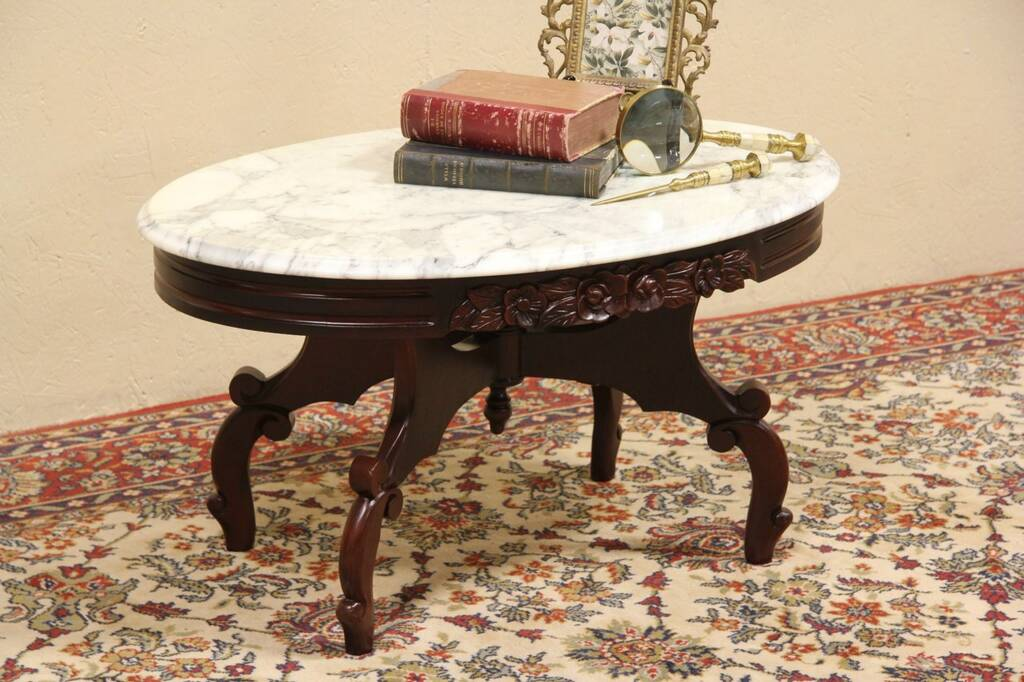 Sold Victorian Style Pelham Snell Leekie Marble Top Coffee Table Harp Gallery Antique