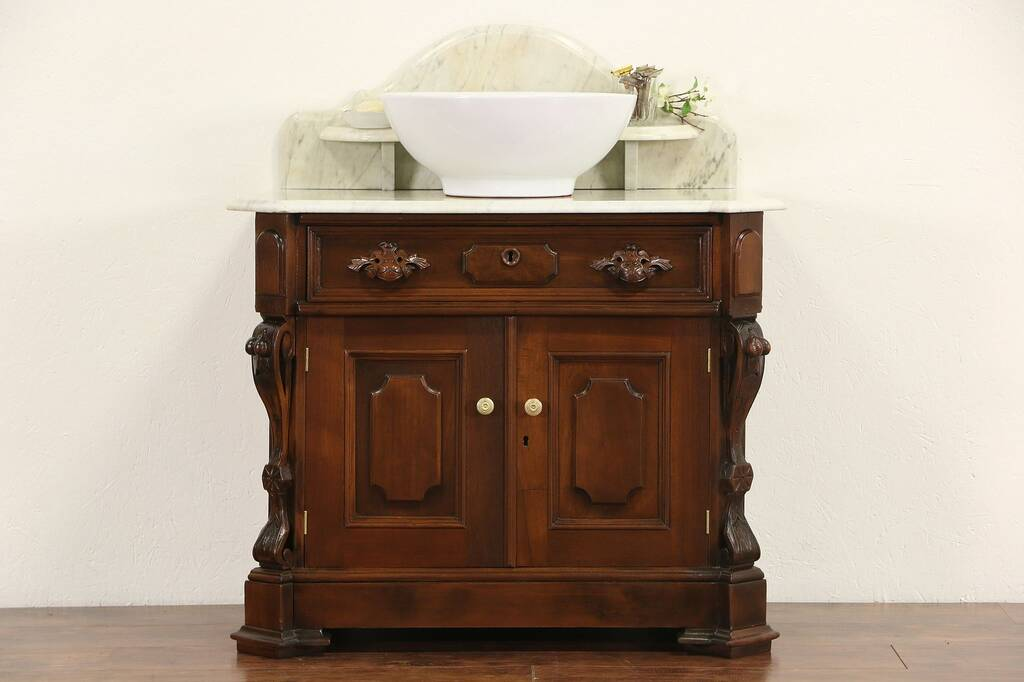 Sold Victorian Carved Walnut 1870 Antique Marble Top