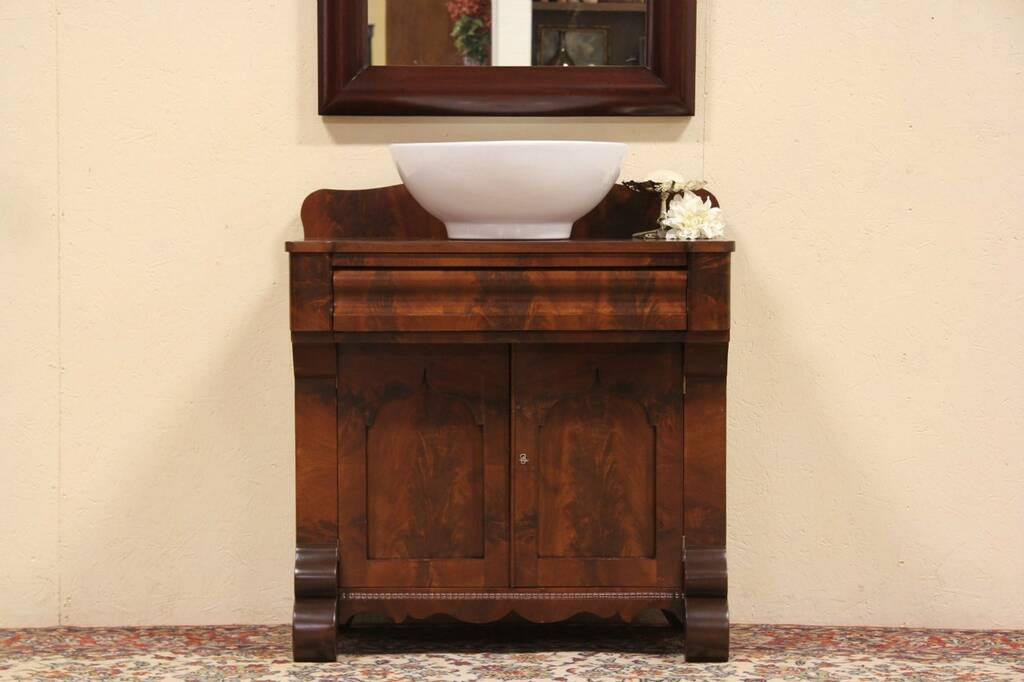 Sold American Empire 1830 Commode Console Or Vessel Sink Vanity Harp Gallery Antique Furniture