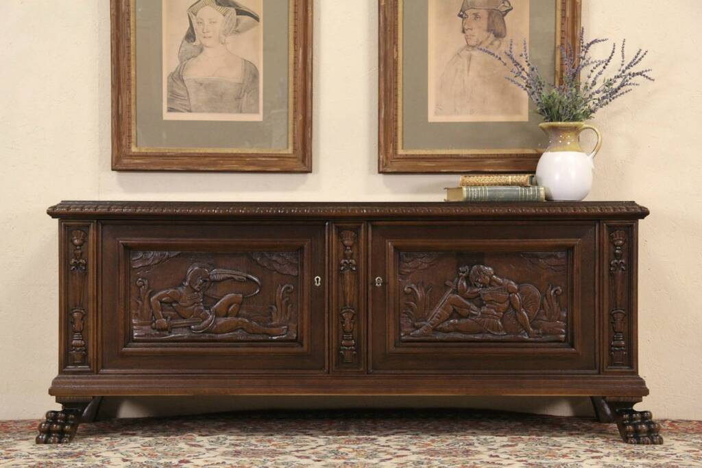 Sold Oak 1915 Danish Antique Cabinet Or Tv Console