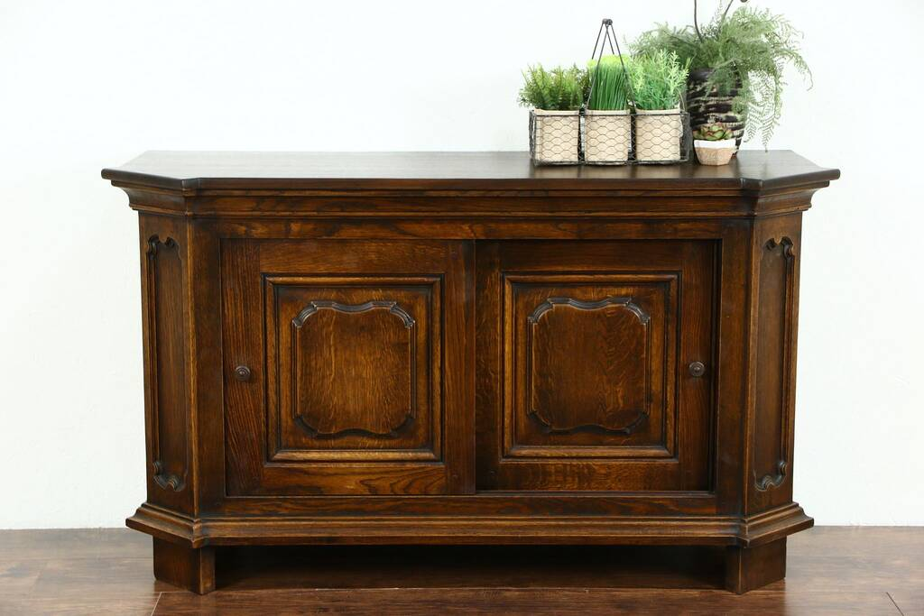 Sold Country French 1920 Antique Oak Sideboard Server