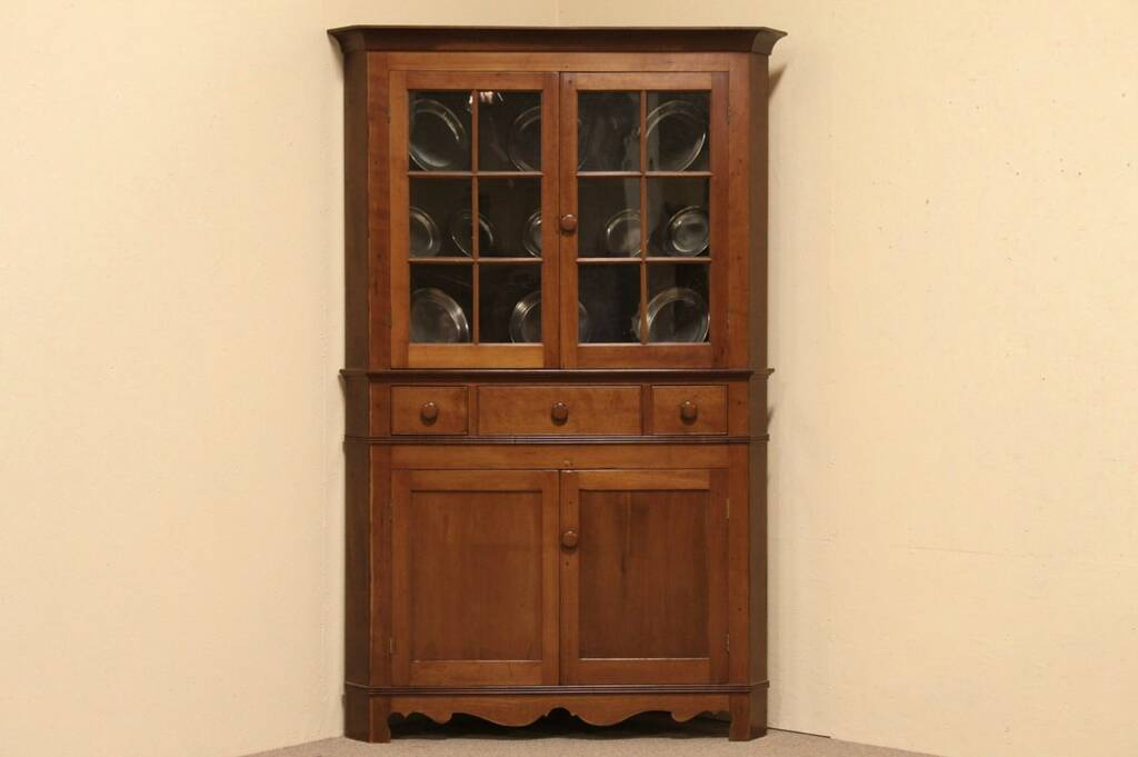 english kitchen cabinets sold cherry 1840 antique country corner cabinet harp 3575
