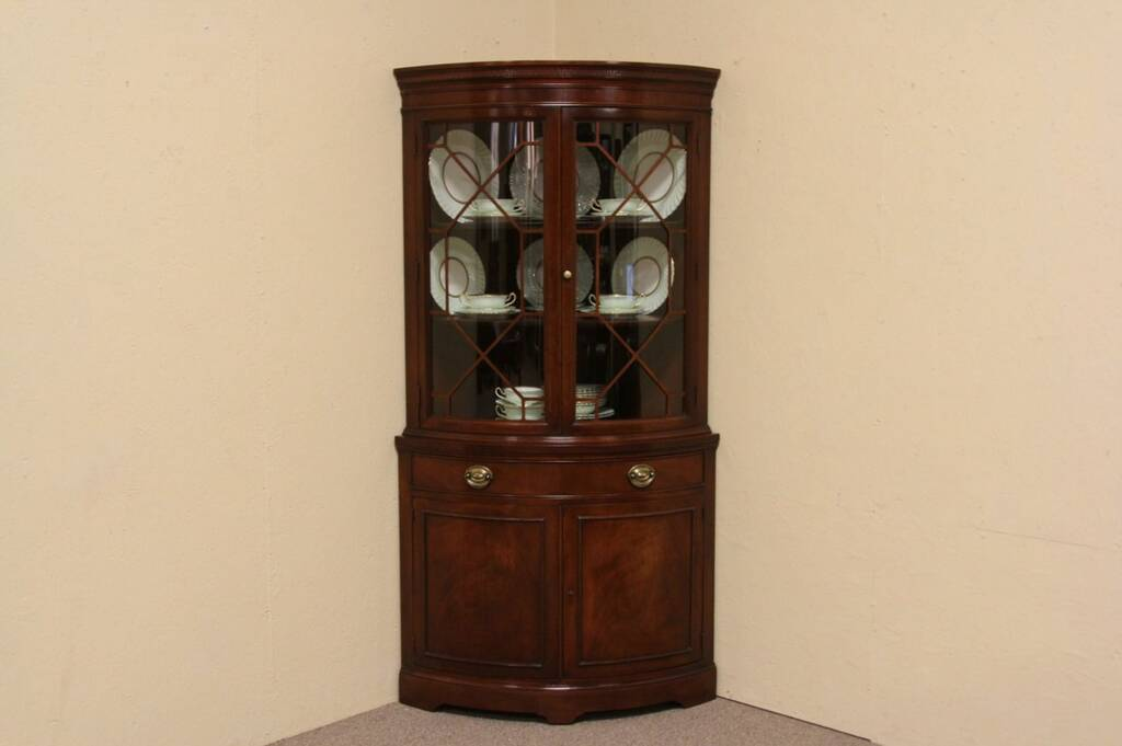 Sold Curved Mahogany Vintage Corner China Cabinet Harp