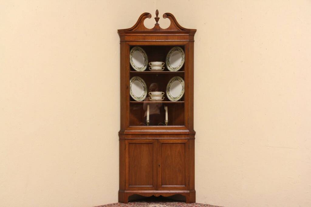 sold federal style vintage corner cupboard or china