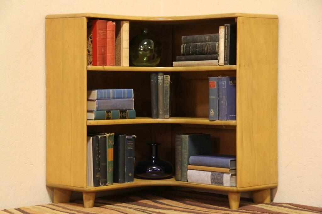 Heywood wakefield midcentury modern vintage corner for Modern corner bookshelf
