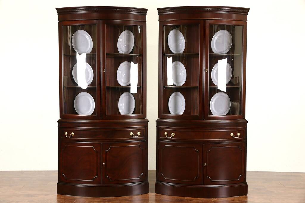 Sold Pair Of Georgian Design Vintage Mahogany Curved