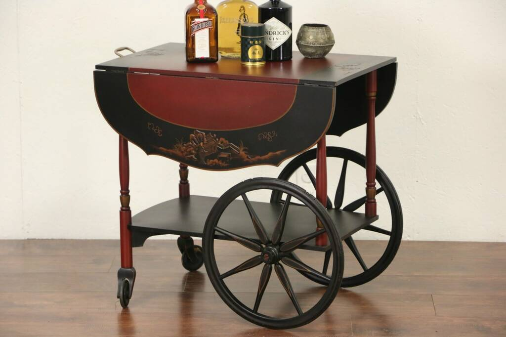 Sold Chinese Style Hand Painted Lacquer 1920 S Tea Cart