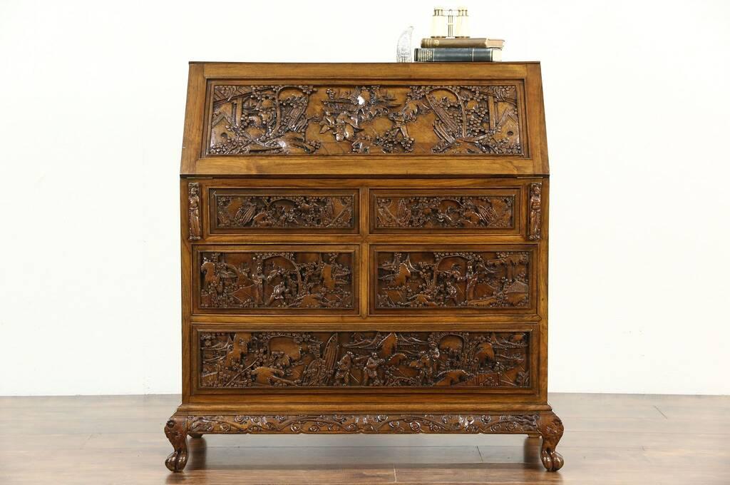 Chinese hand carved teak 1930 39 s vintage secretary desk for Hand carved asian furniture