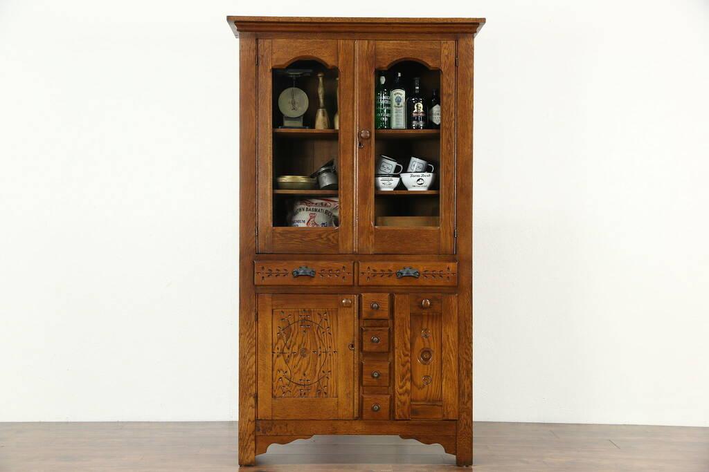 Sold Victorian Eastlake 1895 Antique Oak Pantry Cabinet