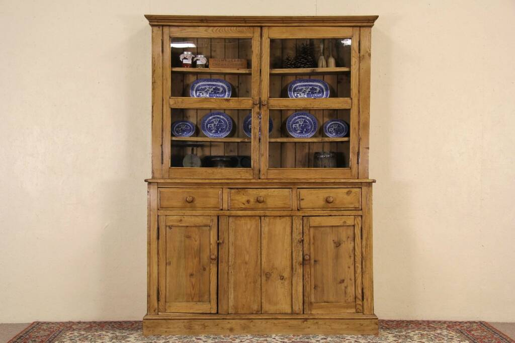 Irish Country Pine 1890 Antique Pantry Cupboard China