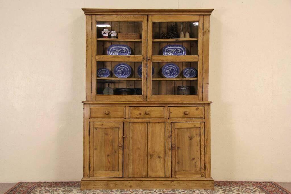 Irish Country Pine 1890 Antique Pantry Cupboard China