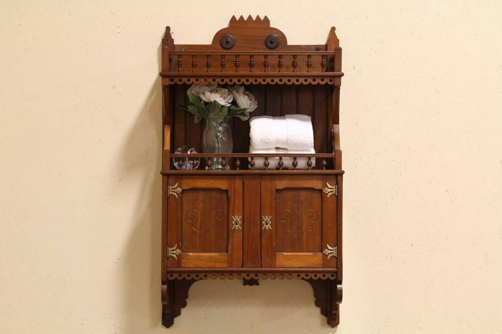sold eastlake hanging cupboard or medicine chest harp