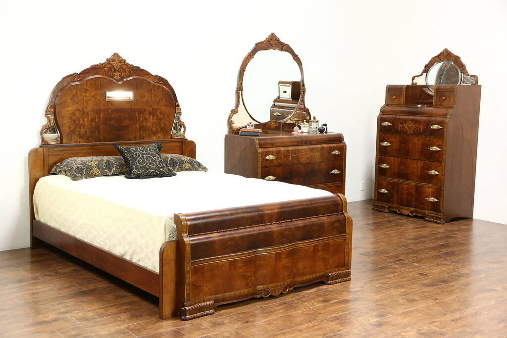 waterfall bedroom set sold deco waterfall design 1935 vintage 3 pc 13793